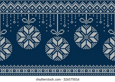 Christmas and New Year Knitting Pattern. Winter Holiday Seamless Sweater Design.