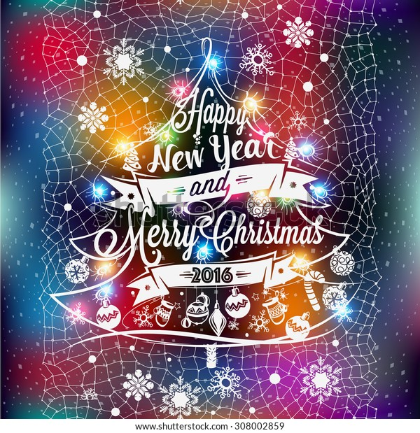 Christmas and New year label with colored lights on a Christmas tree, decoration of calligraphic design with typographic labels, symbols and icons elements for you. Hand drawn authors work.RGB profile