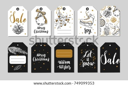 christmas and new year labels gift tags holidays decoration vector hand drawn illustrations