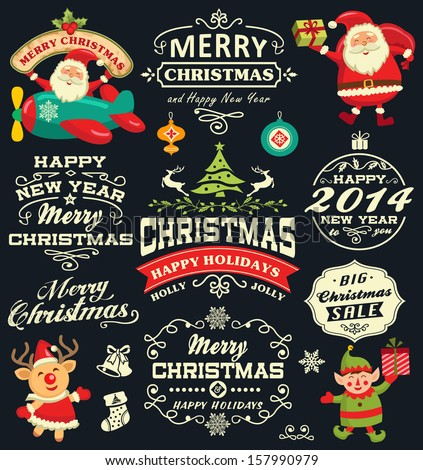 christmas and new year labels icons and elements vector collection