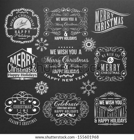 christmas and new year labels on black background
