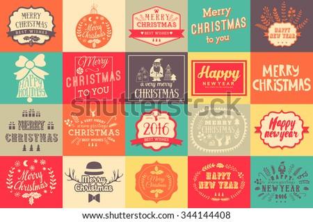 christmas and new year labels set christmas design elements christmas hand drawn logos set