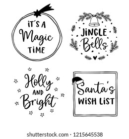 Christmas and New Year lettering set.  Hand lettered quotes for greeting cards, gift tags, labels. Typography collection. Vector illustrations, frames.