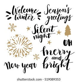 Christmas and New Year lettering set.  Hand lettered quotes for greeting cards, gift tags. Typography collection. Silent night. Welcome winter. Seasons greetings. Merry and bright. Vectors.
