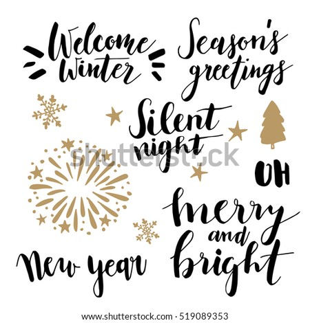 Christmas New Year Lettering Set Hand Stock Vector Royalty Free