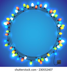 Christmas and New year light garlands like frame on a blue background, vector.