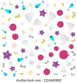 Christmas New year Memphis pattern with bells, candy cane, Christmas balls and abstract geometric shapes in  retro style.  Trendy Modern Poster, Card with Geometric Elements design.  Colorful vector