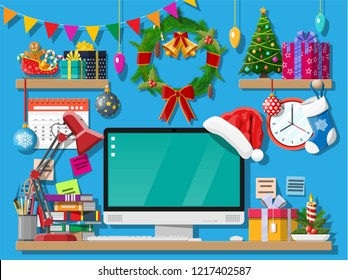 Christmas or new year office desk workspace interior. Gift box, Christmas tree, computer pc, wreath books clocks calendar. vector illustration. Holiday xmas celebration. Vector illustration flat style