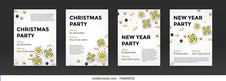 Christmas, New Year party invitation poster design for winter holiday celebration. Vector golden present gift, glittering star snowflake confetti or gold xmas decorations on white background.