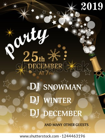 christmas or new year party invitation template holiday background with champagne bottle with golden glitter