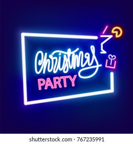 Christmas new year party season icon neon sign, symbol. Colored banner. Advertise alcohol cocktail disco symbol. Lamp shine billboard vector illustration label design. Vintage fashion.