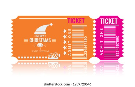 Christmas or New Year party ticket card design template. Vector Illustraton. Orange and pink color.