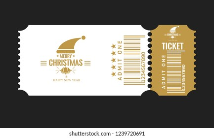 Christmas or New Year party ticket card design template. Vector Illustraton. White and golden color.