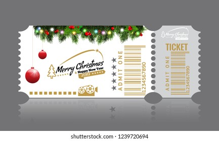 Christmas or New Year party ticket card design template. Vector Illustraton. White color.