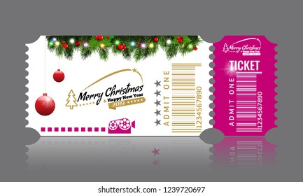 Christmas or New Year party ticket card design template. Vector Illustraton. White and pink color.
