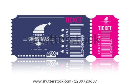 christmas or new year party ticket card design template vector illustraton blue and pink
