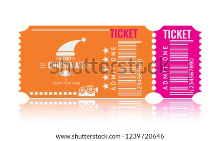 christmas or new year party ticket card design template vector illustraton orange and pink