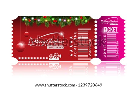 christmas or new year party ticket card design template vector illustraton red and pink