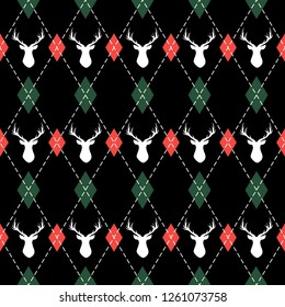 Christmas and new year pattern argyle with deers. Plaid in green, red rhombuses and deers. Scottish cage. Christmas background with diamonds and deers. Seamless fabric texture. Vector illustration