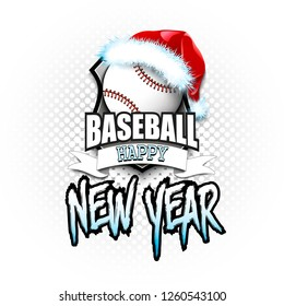 Christmas and new year pattern. Baseball logo template design. Baseball ball with santa hat. Pattern for banner, poster, greeting card, party invitation. Vector illustration