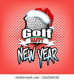 Christmas and new year pattern. Golf logo template design. Golf ball with santa hat. Pattern for banner, poster, greeting card, invitation. Vector illustration