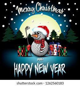 Christmas and new year pattern. Snowman from golf balls with putter and sparklers, gift boxes, firs on the background of the moon and snowflakes. Pattern for greeting card. Vector illustration