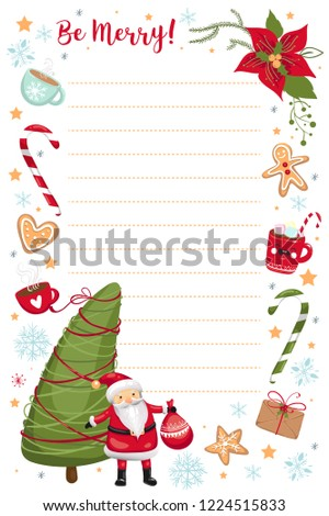 christmas and new year planner organizer template wish list cute vector illustration eps