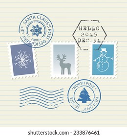 Christmas and New Year postage stamps set