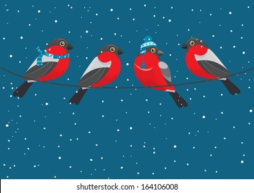 Christmas and New Year postcard.  Winter illustration. Bullfinches birds wearing warm cap and the scarf sitting on the wire. Vector illustration.