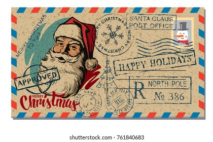 Christmas and New Year Postcard Wish. New Year greeting card vector