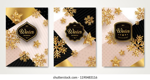 Christmas and New Year posters set with gold snowflakes. Vector illustration. Black frames with place for text on trendy geometric backdrop. Winter template design for invitations or vouchers.