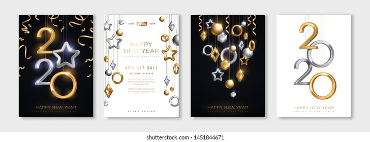 Christmas and New Year posters set with hanging gold and silver 3d baubles and 2020 numbers. Vector illustration. Winter holiday invitations with geometric decorations