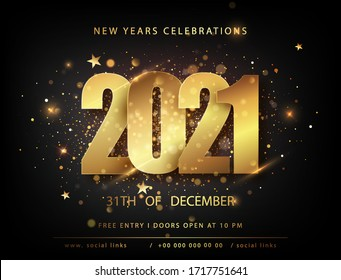 Christmas and new year posters set with 2021 numbers. Winter holiday invitations