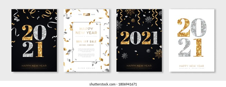 Christmas and New Year posters set with gold and silver confetti and 2021 numbers. Vector illustration. Winter holiday invitations with snowflakes and streamers