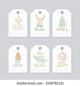 Christmas and New Year Ready-to-Use Pastel Colour Gift Tags or Labels Templates Set. Hand Drawn Deer, Toy Balls, Pine or Spruce Decorated Sketches with Retro Typography. Isolated.