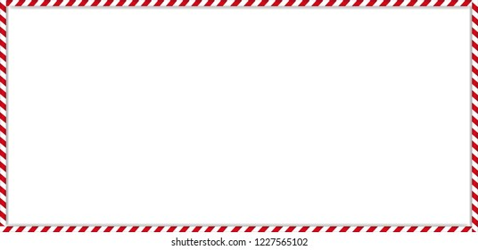 Christmas, new year rectangle cane frame with red and white striped lollipop candy pattern isolated on white background. Holiday xmas border. Vector scrapbooking template, banner, signboard.