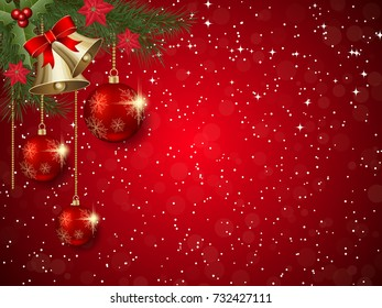 Christmas and New Year red vector background with stars and winter decor