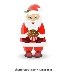Christmas and New Year. santa claus on white isolated background. Santa and chocolate cake