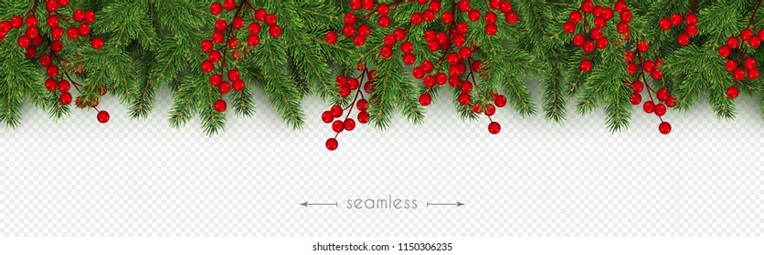 Christmas and New Year seamless border of realistic branches of Christmas tree and holly berries Element for festive design isolated on transparent background Vector illustration