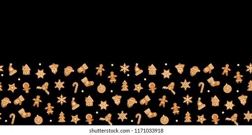 Christmas and New Year seamless border with gingerbread. Repeat wallpaper with gingerbreads on black background. Vector seamless pattern with objects gingerbread toys with text place.