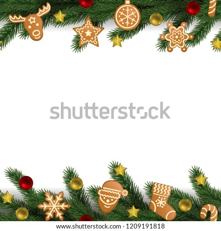 Christmas New Year Seamless Border Gingerbread Stock Vector Royalty