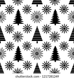 Christmas, new year seamless pattern. Christmas trees, snowflakes. Holiday background in black and white