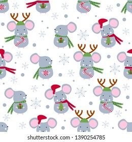 Christmas or New year seamless pattern with cute mice. Mouse. 2020 Winter background with mouse. Rat horoscope sign. Chinese year of Rat 2020. Happy New Year. Concept image of symbol chinese new year