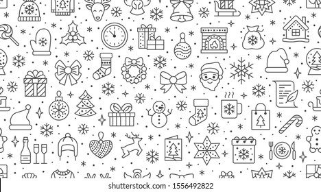 Christmas, new year seamless pattern, line background, winter holiday illustration. Vector icons of pine tree, gift, letter to santa, presents, snow. Celebration xmas party black white ornament.