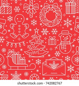 Christmas, new year seamless pattern, line illustration. Vector icons of winter holidays pine tree, gifts, letter to santa, presents, snowman. Celebration party red white repeated background.