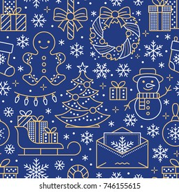 Christmas, new year seamless pattern, line illustration. Vector icons winter holidays pine tree, gifts, letter to santa, presents, snowman. Celebration party blue white gold repeated background.
