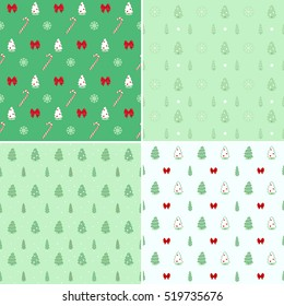 Christmas, New year seamless patterns. Vector clip-art.