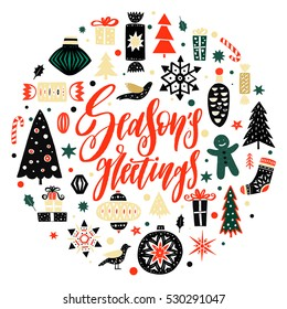 Christmas and New Year season design for greeting card, banner, emblem - hand drawn decorative elements and calligraphic phrase. Vector illustration in circle. Spruce, gift boxes, toys, snowflakes.