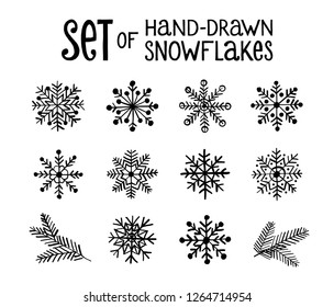 Christmas and New Year set of hand drawn snowflake icons. Happy Winter Holiday doodle elements.