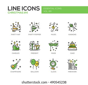 Christmas and New Year - set of modern vector line design icons and pictograms. Party hat, party popper, music, karaoke, candles, present, mask, cake, champagne, balloon, clock firework